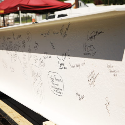 photo of signed beam at caribou community school beam signing ceremony
