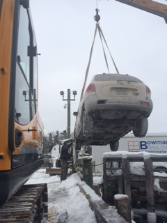 photo of searsport pier car lifted