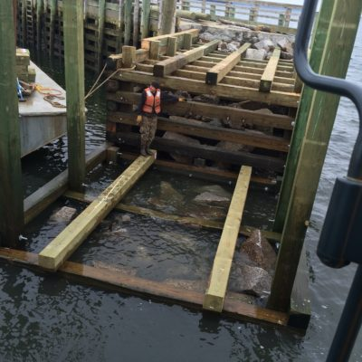 photo of searsport pier under construction