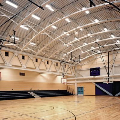 interior photo of gym at lincolnville central school building