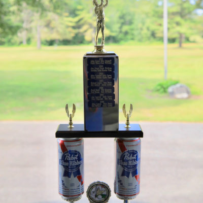 photo of pabst blue ribbon trophy from sebasticook valley fcu golf tournament