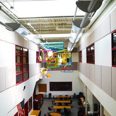 internal photo of ceiling art at ashland school building