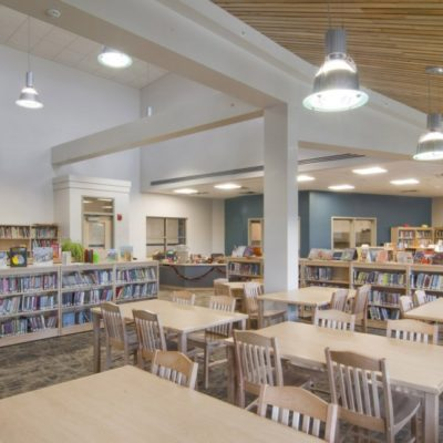 internal photo of library at jefferson village school building