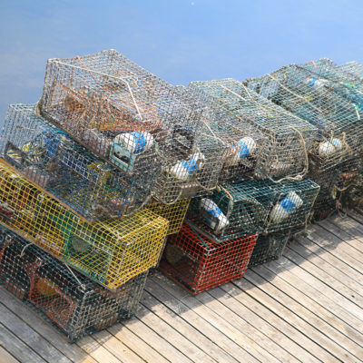 photo of searsport pier lobster traps