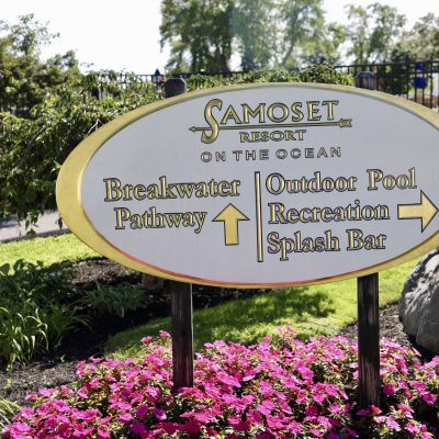 photo of sign samoset resort on the ocean breakwater pathway outdoor pool recreation splash bar