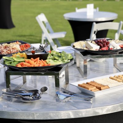photo of veggie tray and other hors d'oeuvres on metal table outside