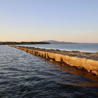 photo of rockland stone breakwater walkway